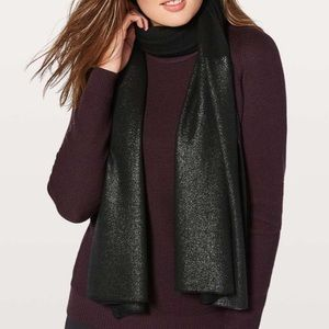 Lululemon All That Shimmers Scarf*Foil NWT Black